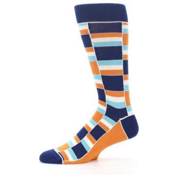 Image of Navy Orange Aqua Stacked Men's Dress Socks (side-2-11)