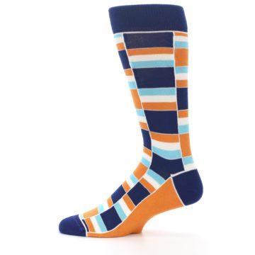 Image of Navy Orange Aqua Stacked Men's Dress Socks (side-2-12)