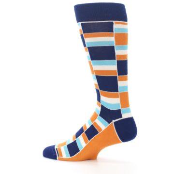 Image of Navy Orange Aqua Stacked Men's Dress Socks (side-2-13)