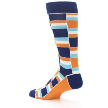 Image of Navy Orange Aqua Stacked Men's Dress Socks (side-2-back-14)
