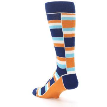 Image of Navy Orange Aqua Stacked Men's Dress Socks (side-2-back-15)