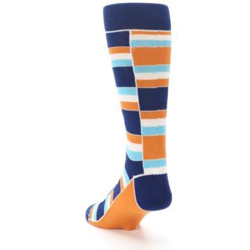 Image of Navy Orange Aqua Stacked Men's Dress Socks (side-2-back-16)