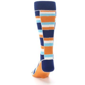 Image of Navy Orange Aqua Stacked Men's Dress Socks (back-17)