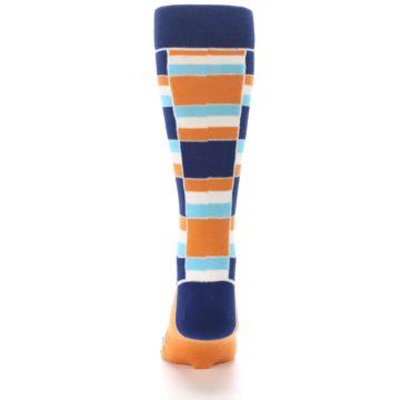 Image of Navy Orange Aqua Stacked Men's Dress Socks (back-18)