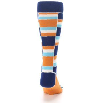 Image of Navy Orange Aqua Stacked Men's Dress Socks (back-19)