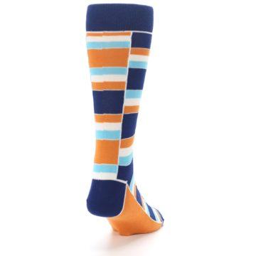 Image of Navy Orange Aqua Stacked Men's Dress Socks (side-1-back-20)