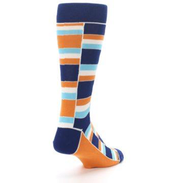 Image of Navy Orange Aqua Stacked Men's Dress Socks (side-1-back-21)