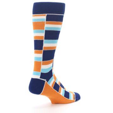 Image of Navy Orange Aqua Stacked Men's Dress Socks (side-1-back-22)