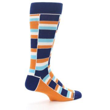 Image of Navy Orange Aqua Stacked Men's Dress Socks (side-1-23)
