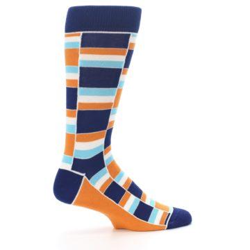 Image of Navy Orange Aqua Stacked Men's Dress Socks (side-1-24)