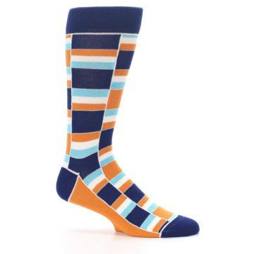 Image of Navy Orange Aqua Stacked Men's Dress Socks (side-1-25)