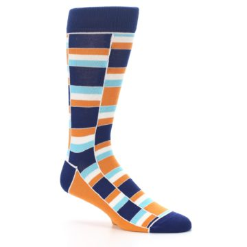 Image of Navy Orange Aqua Stacked Men's Dress Socks (side-1-26)