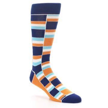 Image of Navy Orange Aqua Stacked Men's Dress Socks (side-1-27)