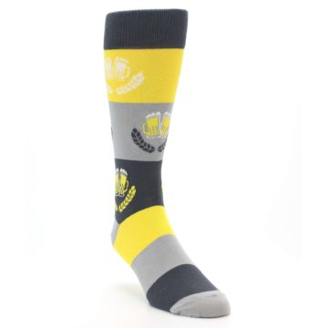 Image of Yellow Beer Mug Men's Dress Socks (side-1-front-02)
