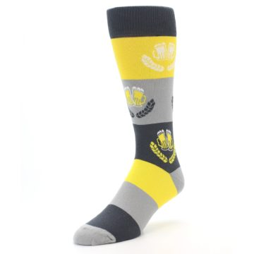 Image of Yellow Beer Mug Men's Dress Socks (side-2-front-08)