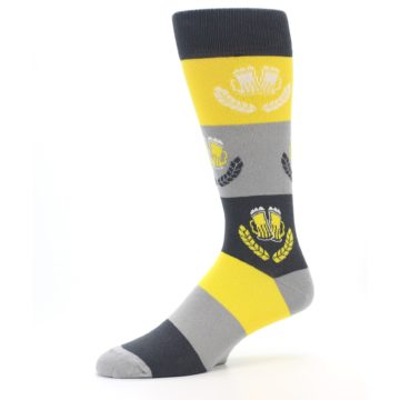 Image of Yellow Beer Mug Men's Dress Socks (side-2-10)