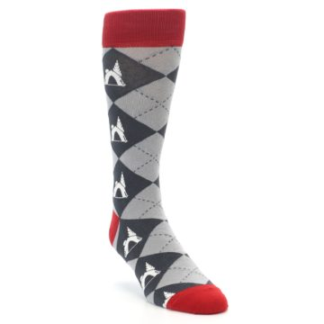 Image of Grey Tent Camping Argyle Men's Dress Socks (side-1-front-02)