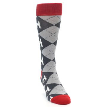 Image of Grey Tent Camping Argyle Men's Dress Socks (side-1-front-03)