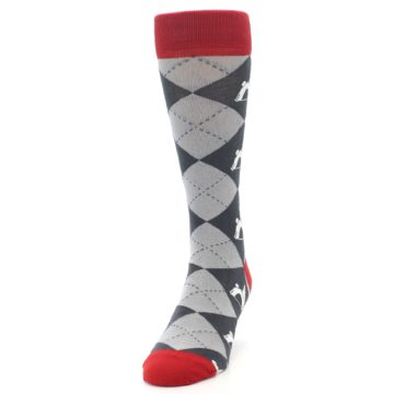 Image of Grey Tent Camping Argyle Men's Dress Socks (side-2-front-06)