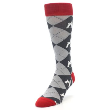 Image of Grey Tent Camping Argyle Men's Dress Socks (side-2-front-07)