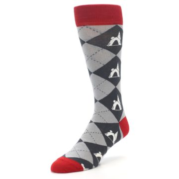 Image of Grey Tent Camping Argyle Men's Dress Socks (side-2-front-08)