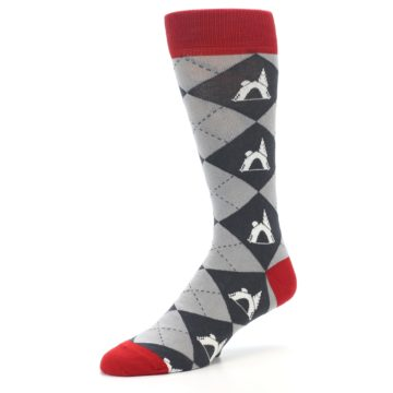 Image of Grey Tent Camping Argyle Men's Dress Socks (side-2-09)