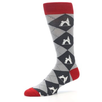 Image of Grey Tent Camping Argyle Men's Dress Socks (side-2-10)