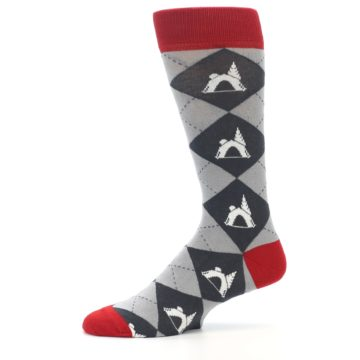 Image of Grey Tent Camping Argyle Men's Dress Socks (side-2-11)