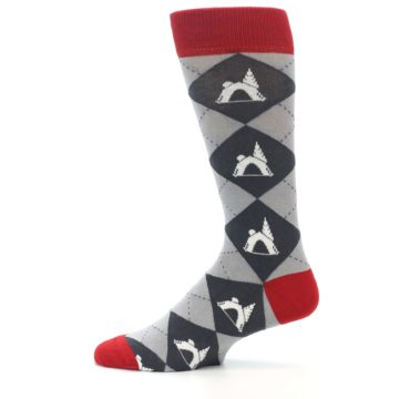 Image of Grey Tent Camping Argyle Men's Dress Socks (side-2-12)