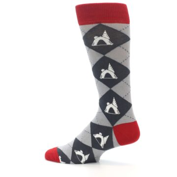 Image of Grey Tent Camping Argyle Men's Dress Socks (side-2-13)