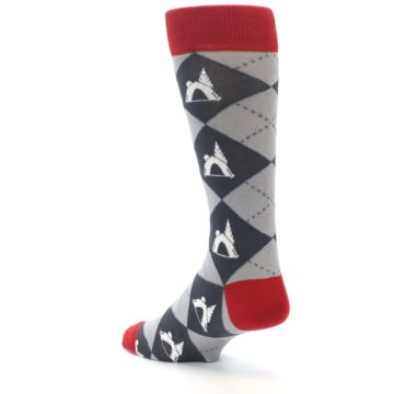 Image of Grey Tent Camping Argyle Men's Dress Socks (side-2-back-15)