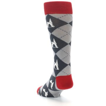 Image of Grey Tent Camping Argyle Men's Dress Socks (side-2-back-16)