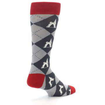 Image of Grey Tent Camping Argyle Men's Dress Socks (side-1-back-22)