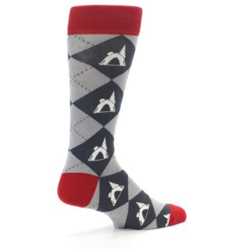 Image of Grey Tent Camping Argyle Men's Dress Socks (side-1-23)