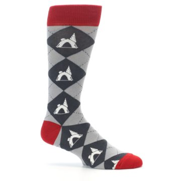 Image of Grey Tent Camping Argyle Men's Dress Socks (side-1-25)