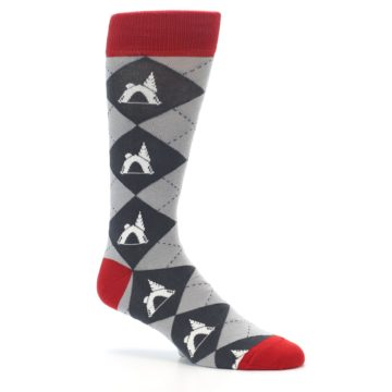 Image of Grey Tent Camping Argyle Men's Dress Socks (side-1-26)