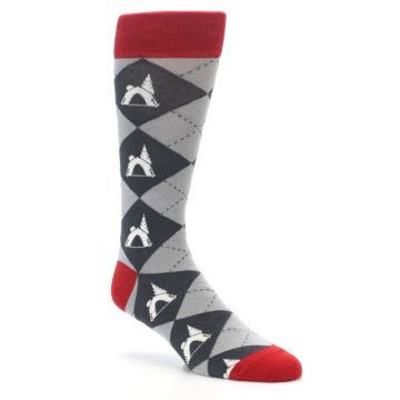 Image of Grey Tent Camping Argyle Men's Dress Socks (side-1-27)