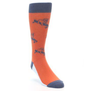 Image of Orange Skateboarding Bulldog Men's Dress Socks (side-1-front-02)