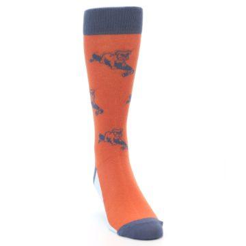 Image of Orange Skateboarding Bulldog Men's Dress Socks (side-1-front-03)