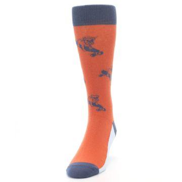 Image of Orange Skateboarding Bulldog Men's Dress Socks (side-2-front-06)