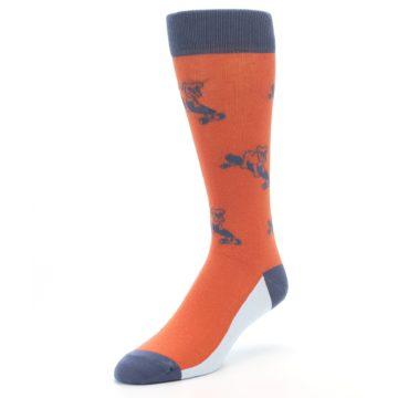 Image of Orange Skateboarding Bulldog Men's Dress Socks (side-2-front-08)