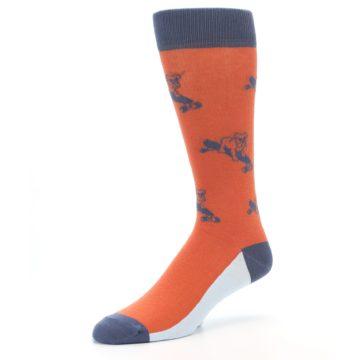 Image of Orange Skateboarding Bulldog Men's Dress Socks (side-2-09)