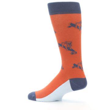 Image of Orange Skateboarding Bulldog Men's Dress Socks (side-2-13)