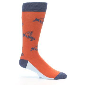Image of Orange Skateboarding Bulldog Men's Dress Socks (side-1-25)