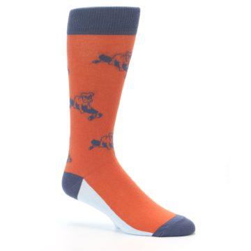 Image of Orange Skateboarding Bulldog Men's Dress Socks (side-1-26)