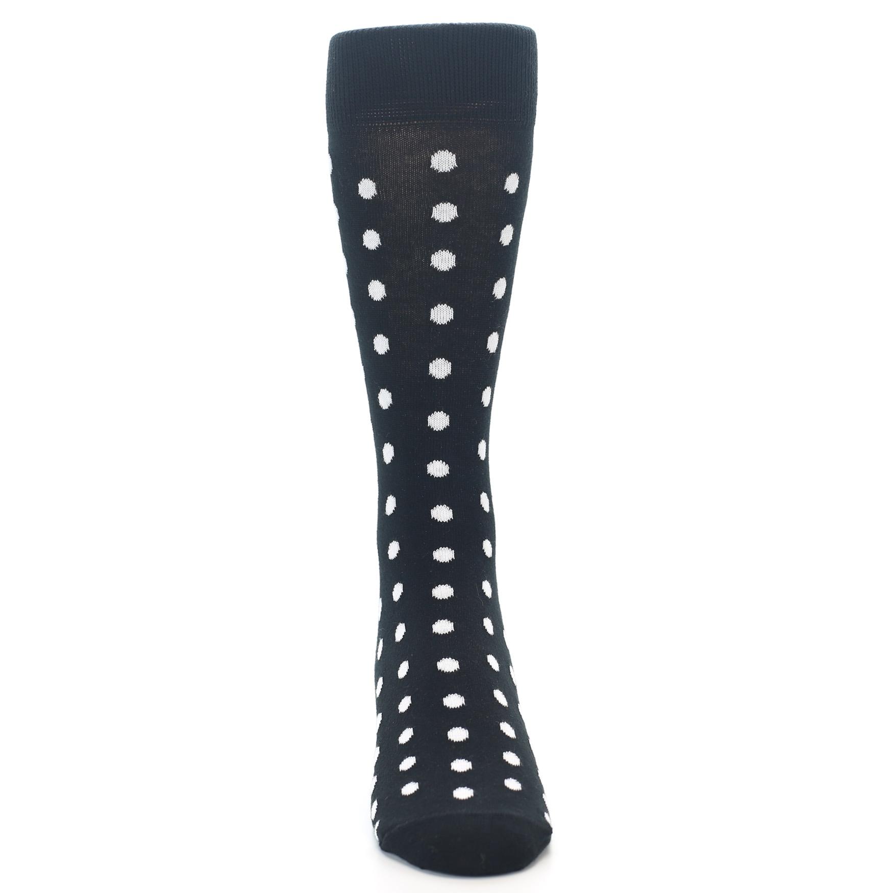 149fd259f537 Image of Black White Polka Dot Men's Dress Socks (front-04)
