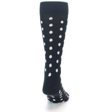 Image of Black White Polka Dot Men's Dress Socks (back-19)