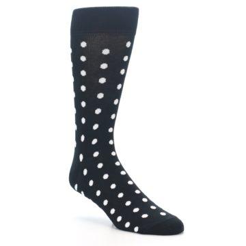 Image of Black White Polka Dot Men's Dress Socks (side-1-27)