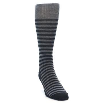 Image of Grey Black Stripe Wool Men's Casual Socks (side-1-front-03)