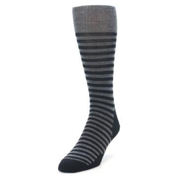 Image of Grey Black Stripe Wool Men's Casual Socks (side-2-front-07)